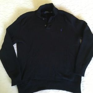 RALPH LAUREN Black 3 Button Cotton Sweater Mens L